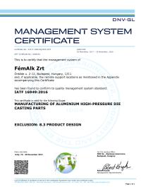FémAlk Zrt 2017 Certificate BP IATF 16949