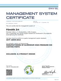 FémAlk Zrt 2017 Certificate DV IATF 16949