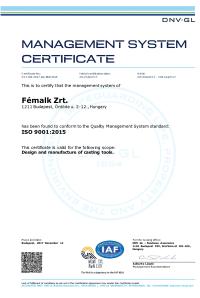 ISO 9001 2015 DNV GL Certificate angol