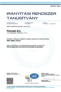 ISO 9001 2015 DNV GL Certificate hungarian