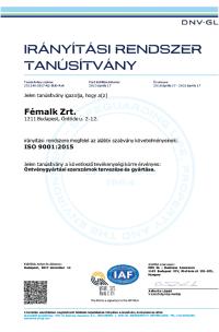 ISO 9001 2015 DNV GL Certificate magyar