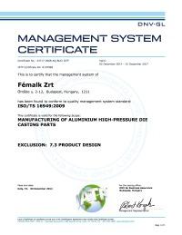 ISO TS 16949 tanusítvány - Fémalk Csepel