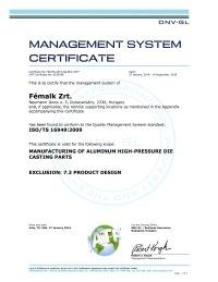ISO TS 16949 tanusítvány - Fémalk Dunavarsány