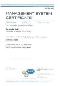 ISO TS 9001 tanusítvány - Fémalk Csepel
