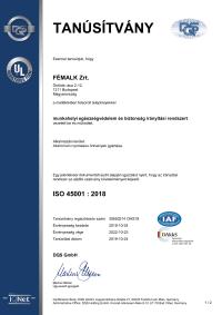 Munkahelyi egészségvédelem és biztonság irányítási rendszer ISO 45001 : 2018