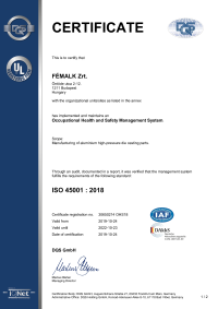 Occupational health and safety management system ISO 45001 : 2018